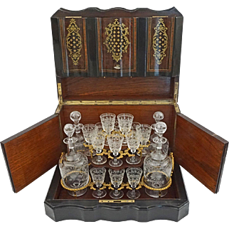 Napoleon III French Tantalus Cave a Liqueur Burled Ebonized Woods Gilt Bronze - 19th Century, France