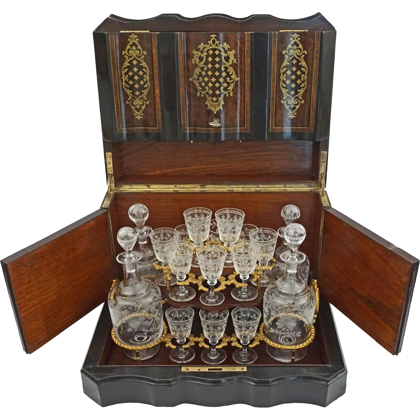 Napoleon III French Tantalus Four Decanter Cave a Liqueur Burled Ebonized Woods Gilt Bronze - 19th Century, France