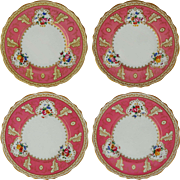 Set 4 For Tiffany & Co. New York Hot Pink English Cauldon Porcelain Plates Large - c.1930-1962, England