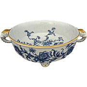 Antique Royal Worcester Elephant Handled Footed Bowl Blue White Floral English Registration Number - 1886, England