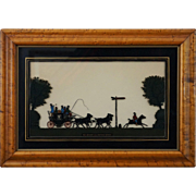 Eglomise Reverse Painted Sihouette The London and Oxford Coach in Bird's Eye Maple Wood Frame