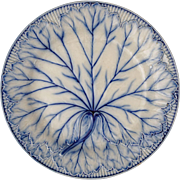 Antique Wedgwood Leaf Vines Plate Blue White - 19th Century, England