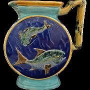 Antique English Majolica Joseph Holdcroft Bamboo Handle Fish Pitcher Blue Turquoise Marked - c. 1879, England
