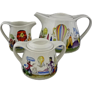 Villeroy & Boch Ballon Tea Pot, Cream, Sugar Bowl Set - 20th Century, Luxembourg