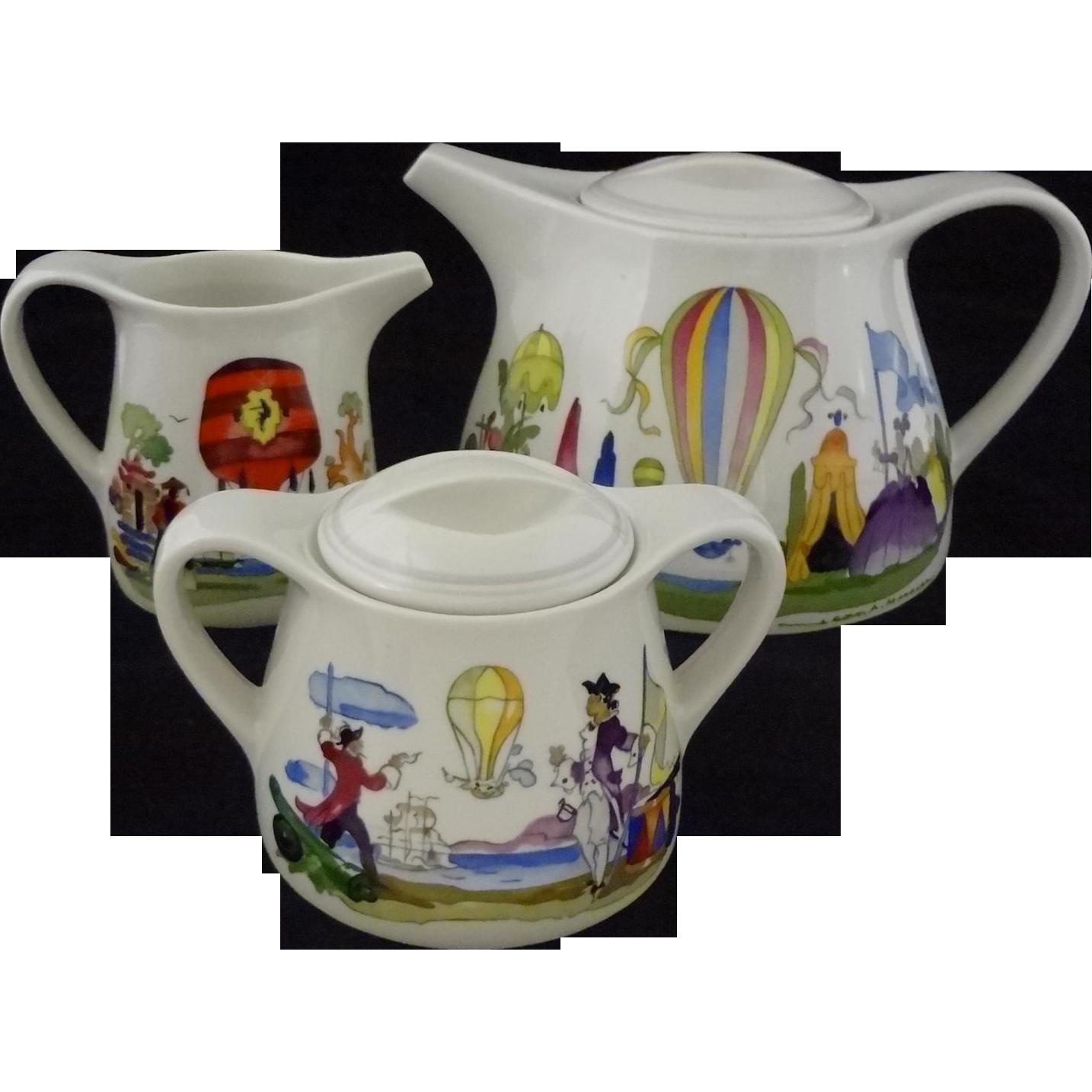 Villeroy & Boch Le Ballon Tea Pot, Cream, Sugar Bowl Set - 20th Century, Luxembourg