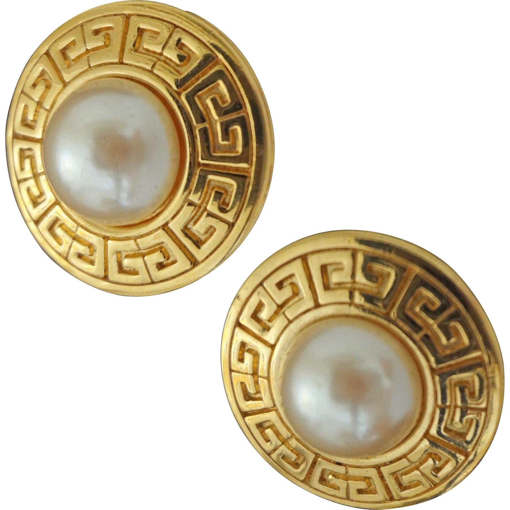 Pair Givenchy Paris Faux Pearls Clip-On Earrings Couture / Runway Style Costume Jewelry Signed - c. 1980's, France