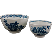 Dr Wall 1st Period Worcester Two Small Footed Bowls / Cups Crescent Mark Chinoiserie / Floral - Pre 1783, England