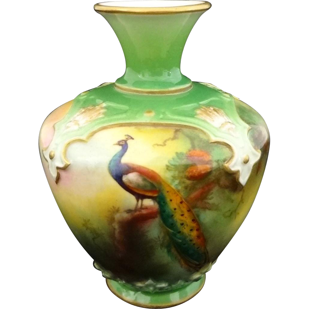Miniature Royal Worcester Peacock on Fir Tree Vase Green Gilt - 1909, England
