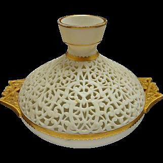 Worcester China Works Grainger Pierced / Reticulated Orientalist Gilt Handled Vase - 19th Century, England