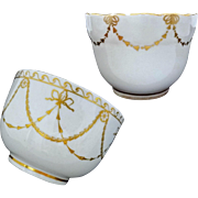 Pair Antique Crown Derby Bowls White Gilt Garlands - c.1775 - 1806, England