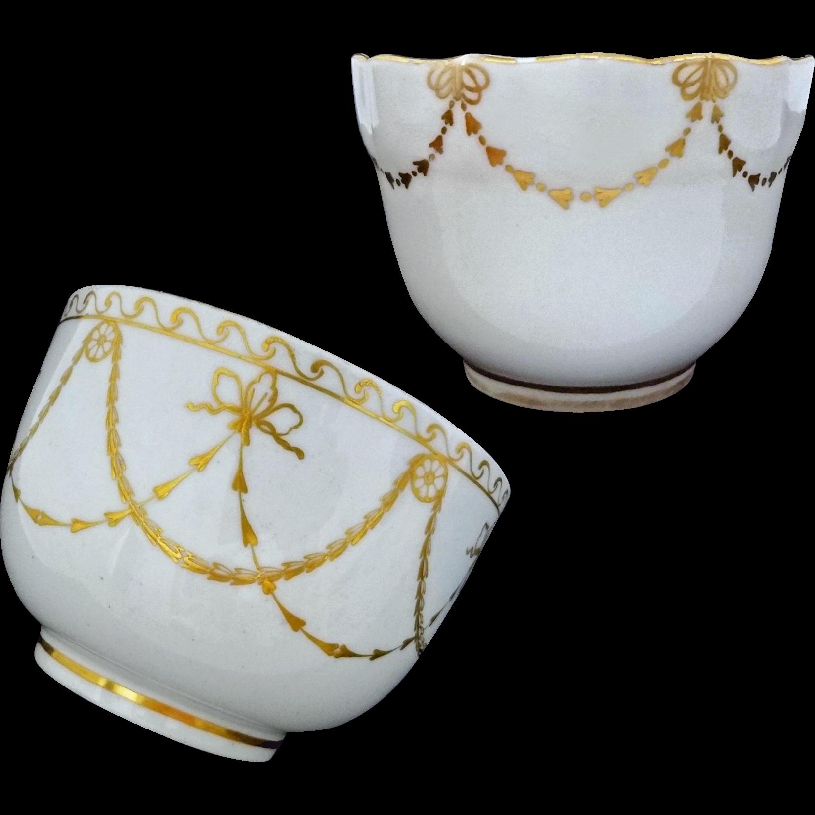 Pair Antique Crown Derby Bowls White Gilt Garlands - c.1775 - 1806, England