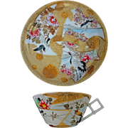 Japanese Gilt Porcelain Cup Saucer with Birds, Cranes and Landscape Signed - c. 20th Century, Japan