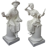 Pair Chinoiserie Royal Worcester Figurines White Bisque / Biscuit Mid-Century - 1957 and 1966, England