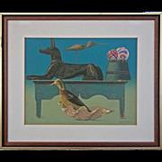 Modern Still Life Color Silkscreen The Guards signed Allen Saalburg - 20th Century, USA