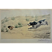 Leon Danchin Numbered 187/500 Lithograph Spaniel Dog Chasing Rabbit Pencil Signed  -  1938, France