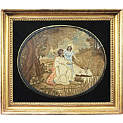 Early Antique Moses in Bulrushes Needlework Picture Eglomise Frame - late 1700's