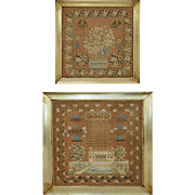 Pair Related Schoolgirl Samplers Architectural Floral Framed - 1830's, English or American