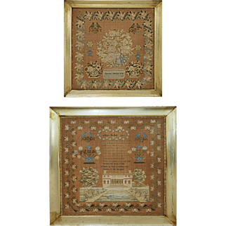 Pair Related Schoolgirl Samplers Architectural Floral Framed - 1830's, Pennsylvania