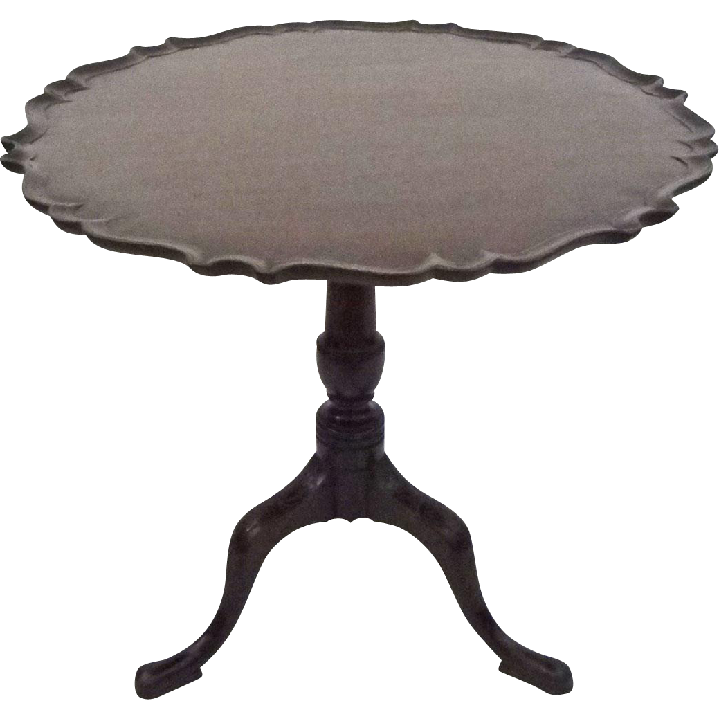 Antique Pie Crust Border Tilt-top Tea Table Mahogany - c. 19th Century, USA