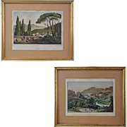 Pair Early Italian Views Villa d'Est Tivoli and
