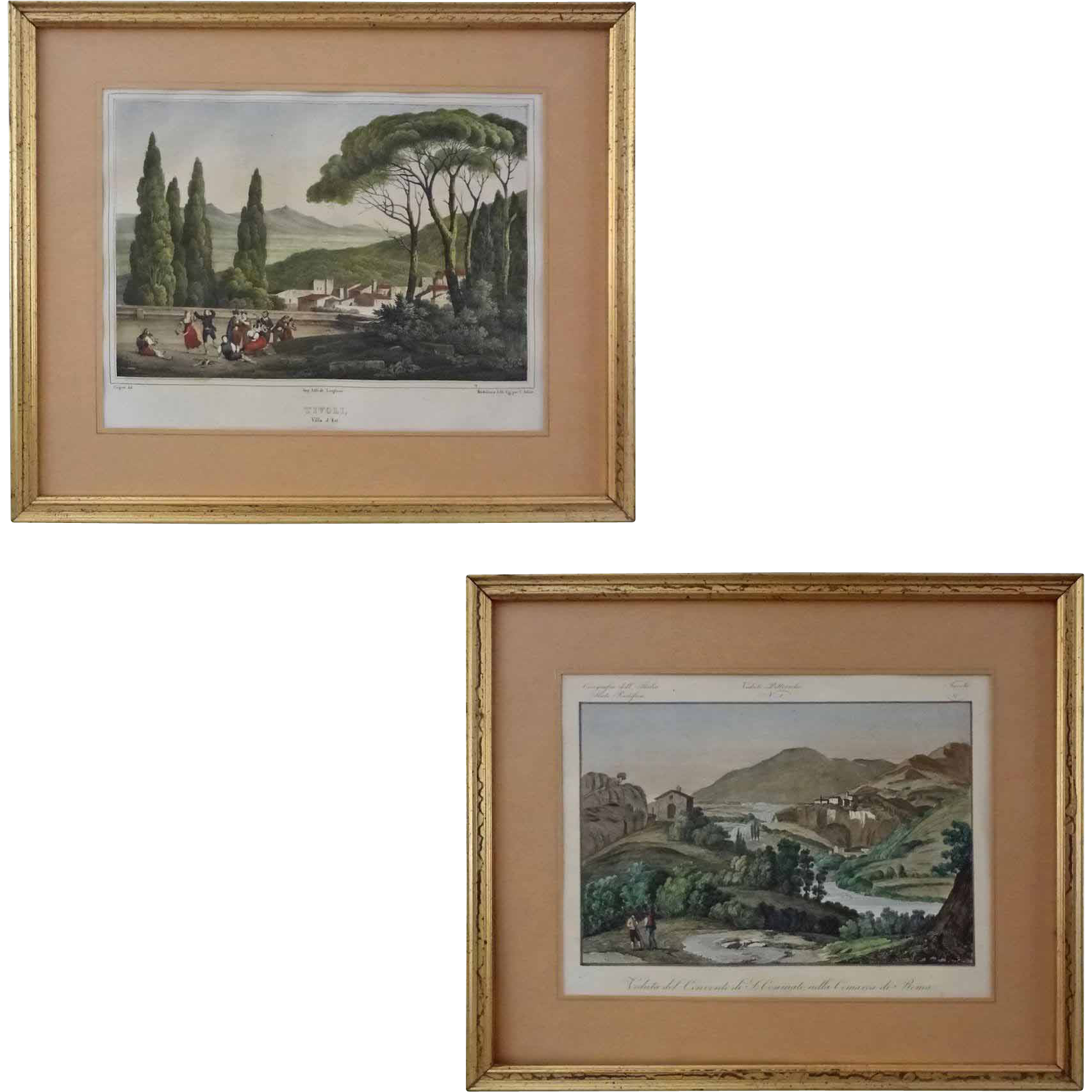 Pair Early Italian Views Villa d'Est Tivoli Lithograph and Valerian Way Engraving - 19th Century