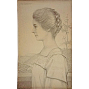 Antique Pencil Drawing Portrait Young Woman Profile Signed WILLIAM FULLER CURTIS and Dated - 1908, USA
