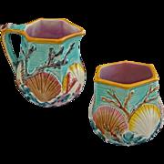 Wedgwood Majolica Ocean Shell Seaweed and Waves Pattern Cream and Sugar Bowls - c. 1882, England