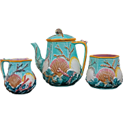 Antique Wedgwood Majolica Ocean Shell Seaweed and Waves Tea Set Pot Sugar Cream - c. 1871, England