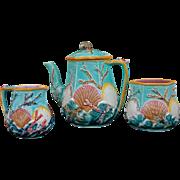 Antique Wedgwood Majolica Ocean Shell Seaweed and Waves Tea Set Pot Sugar Cream - c. 1871, England