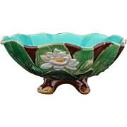 Antique English Majolica Joseph Holdcroft Large Water Lily Bowl  Turquoise Interior Marked - c. 1870-1885, England