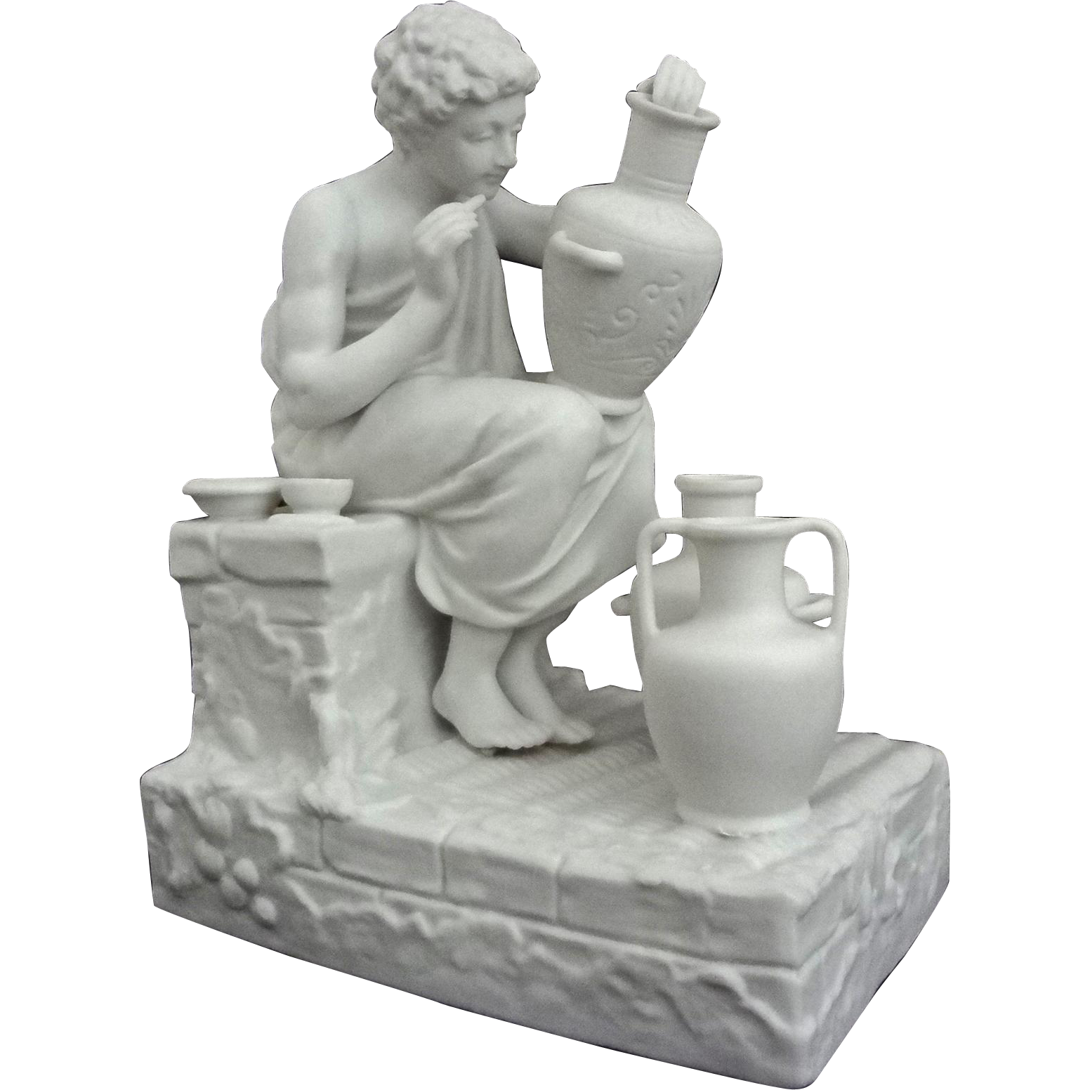 Parian Statuette Classic Pottery Decorator Group Young Man Toga - c. 19th Century