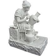 Parian Statuette Classic Pottery Decorator Group Young Woman - c. 19th Century