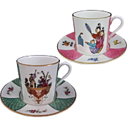 Pair Royal Worcester Chinoiserie Demitasse Cups Saucers - 20th Century, England