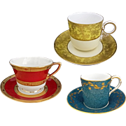 Collection 3 Sets Royal Worcester Cabinet Cup and Saucer - 1869, 1932, 1941, England