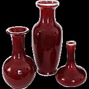 Set Three Sang du Boeuf & Oxblood Red Glaze Vases - c. 20th Century, China