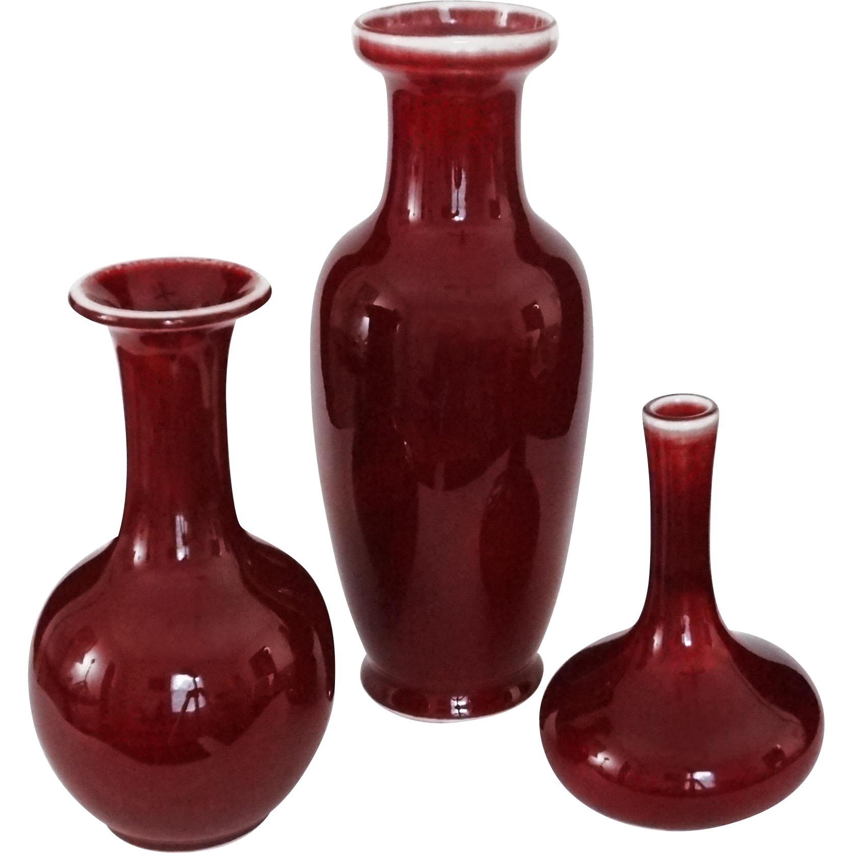 Set Three Sang du Boeuf & Oxblood Red Glaze Vases - c. 20th Century, China