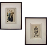 Pair Vanity Fair Scientist Caricatures Spy Prints Pierre and Marie Curie and Carl Virchow Framed - c. 1930's