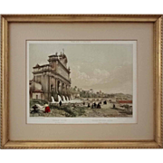 Antique Color Lithograph Rome Fontana dell' Aqua Paolina sul Monte Gianicolo, Felix Benoist Gilt Frame - 19th Century, France