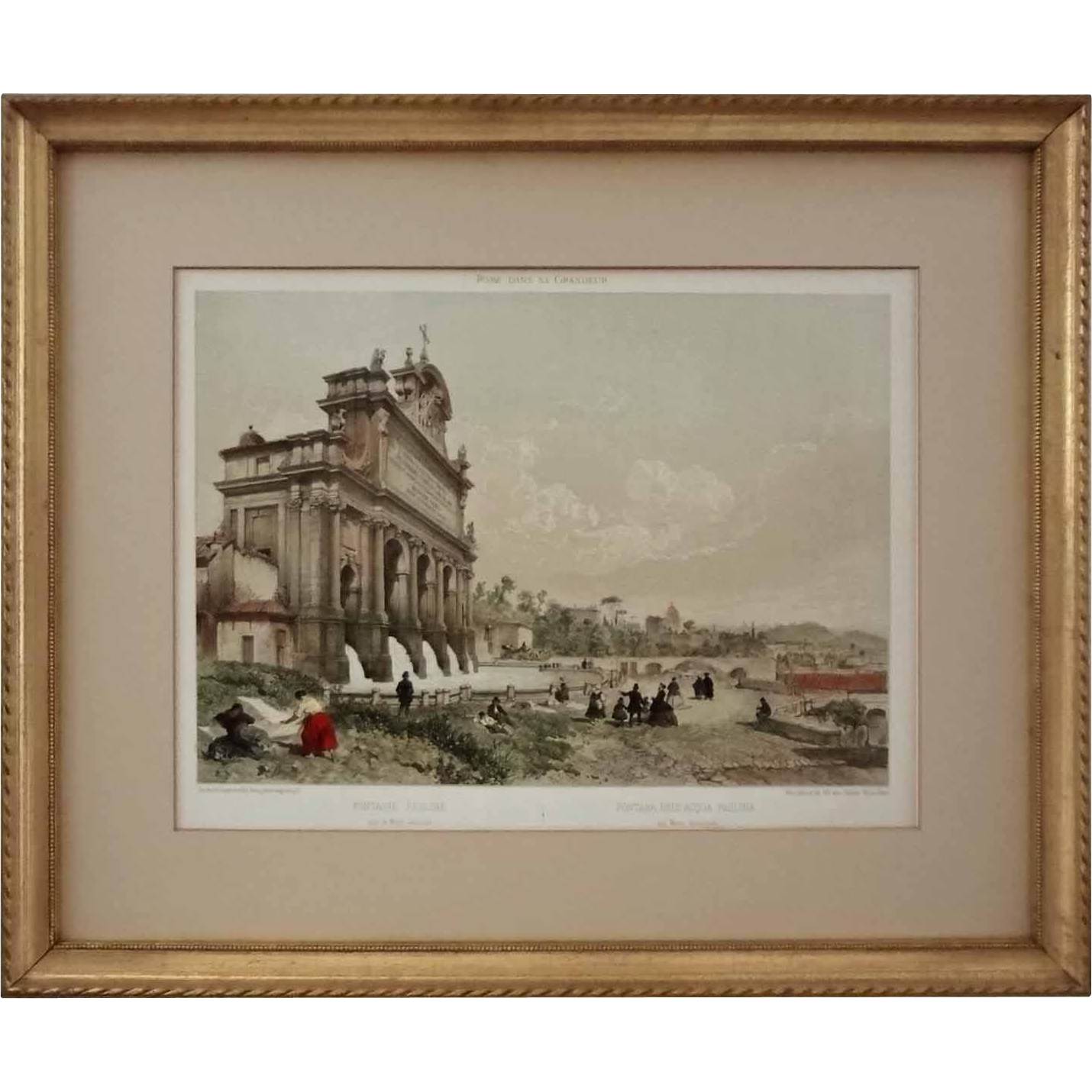 Antique Color Lithograph Rome Fontana dell' Aqua Paolina sul Monte Gianicolo, Felix Benoist Gilt Frame - 19th Century, France