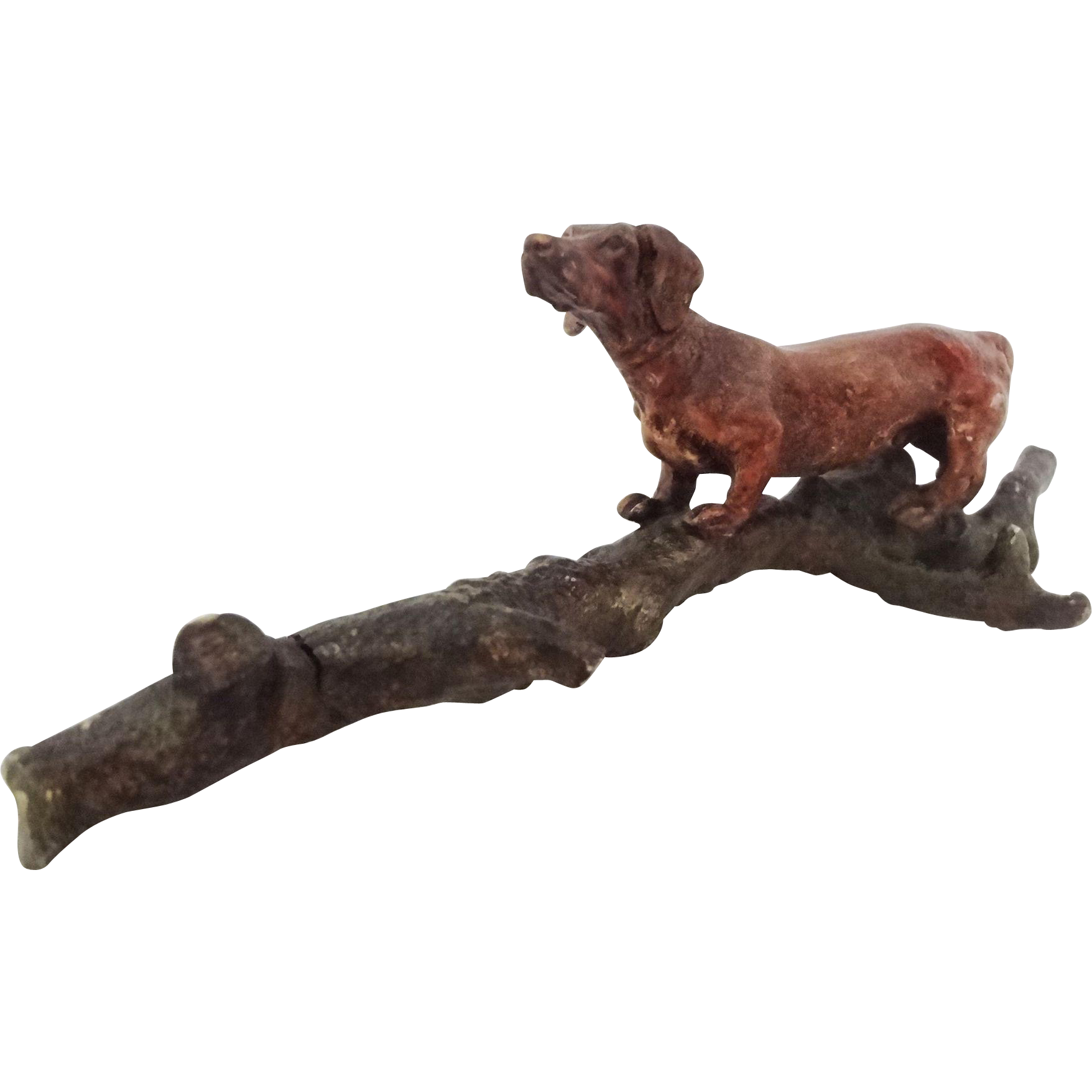 Austria Cold Painted Bronze Group Dachshund Dog on Tree Trunk Branch Miniature