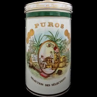 Cigar Humidor Gerard Pere et Fils Jar Porcelain Container Bernardaud - 20th Century, France