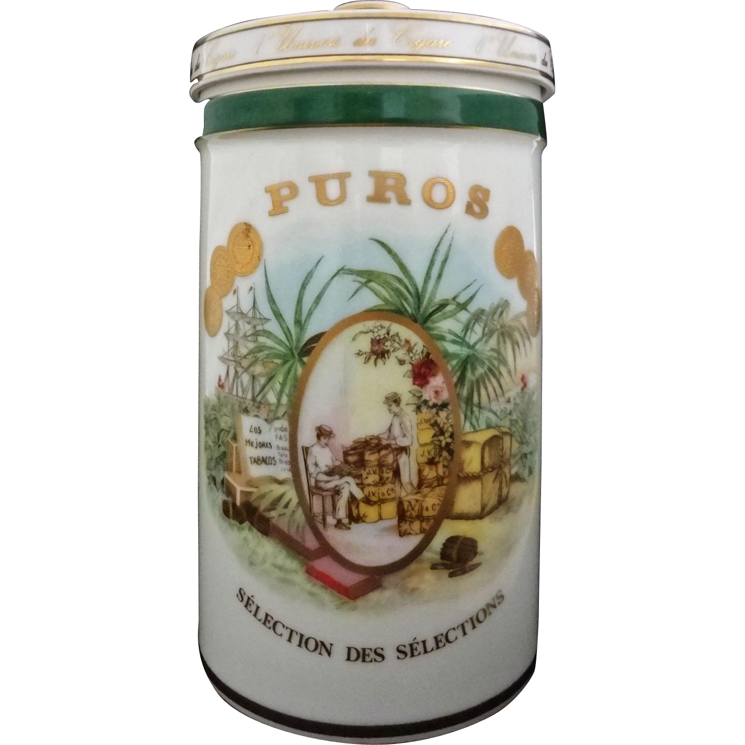 Cigar Humidor Gerard Pere et Fils Jar Porcelain Container Bernardaud - 20th Century, France