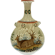 Antique Harrach Hunt Scene Enamel Painted White Marbled Glass Flask Bottle Double Gourd - circa 1862, Bohemia