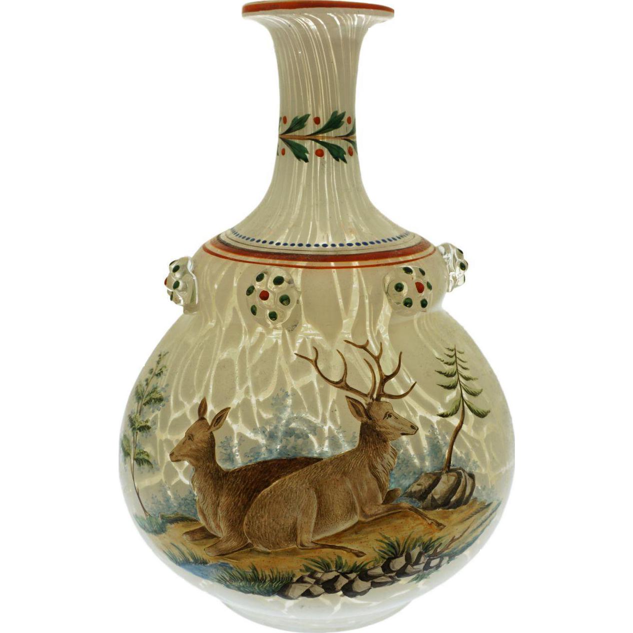 Antique Bohemian Hunt Scene Enamel Marbled Glass Prunt Flask Bottle Double Gourd Harrach - circa 1862, Bohemia