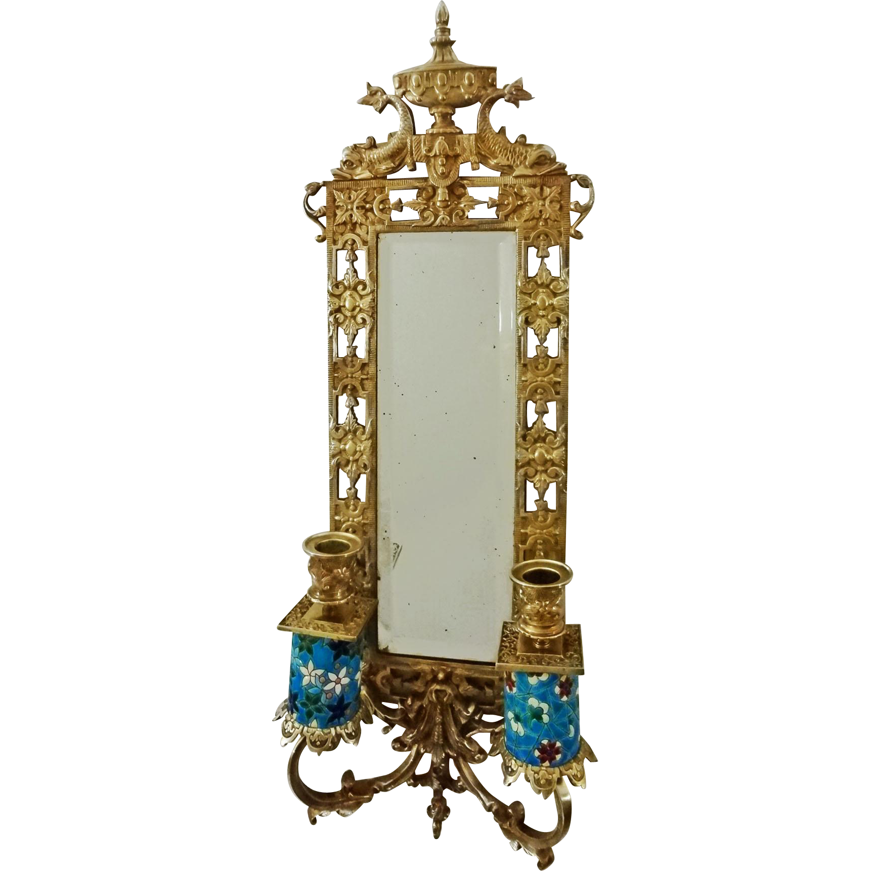 Longwy Faience Pierced Brass Mirror Back Sconce Figural Urn Dolphins NeoClassical Style