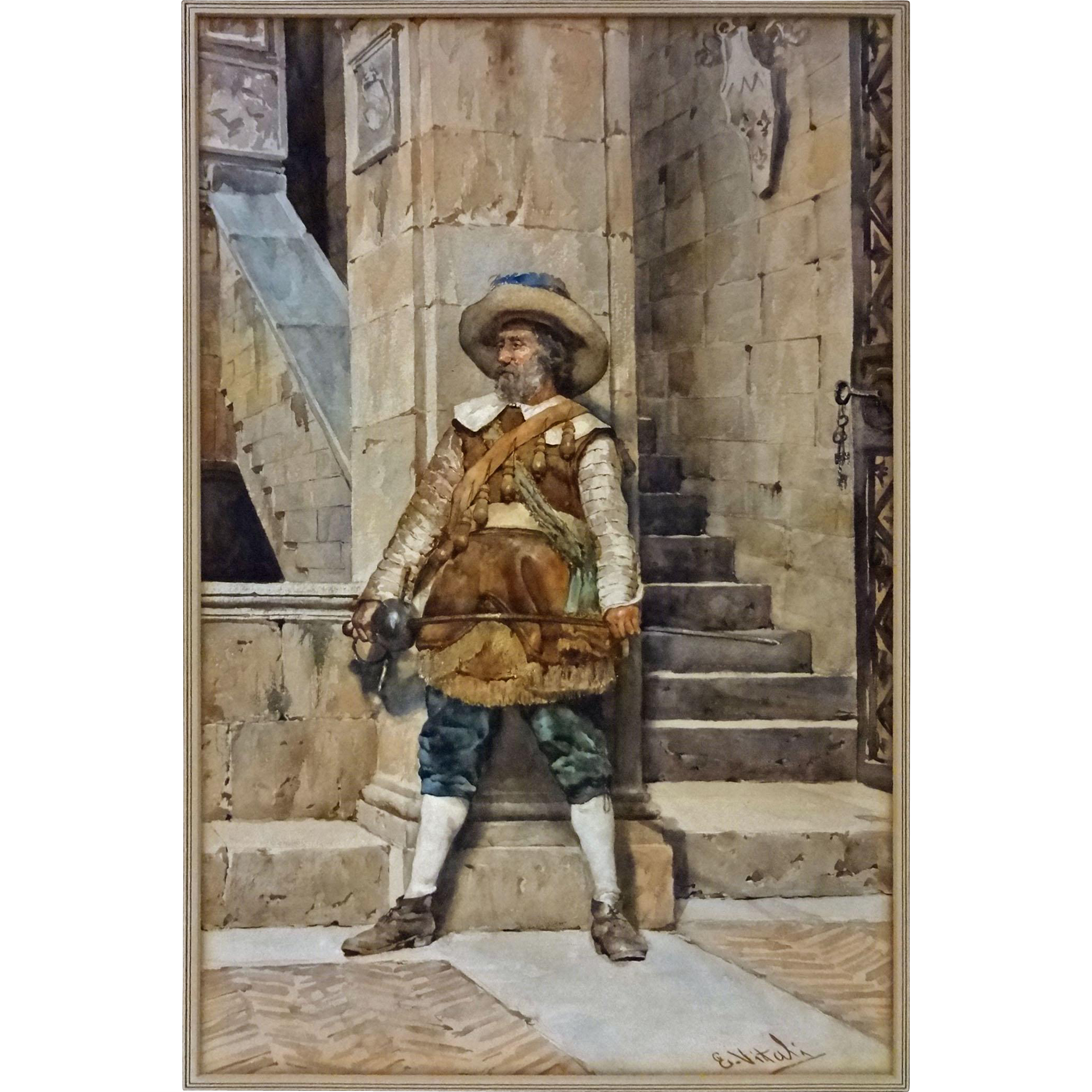 Antique Watercolor Painting Musketeer Castle Interior signed E. Vitali Large - c. 19th Century, Italy