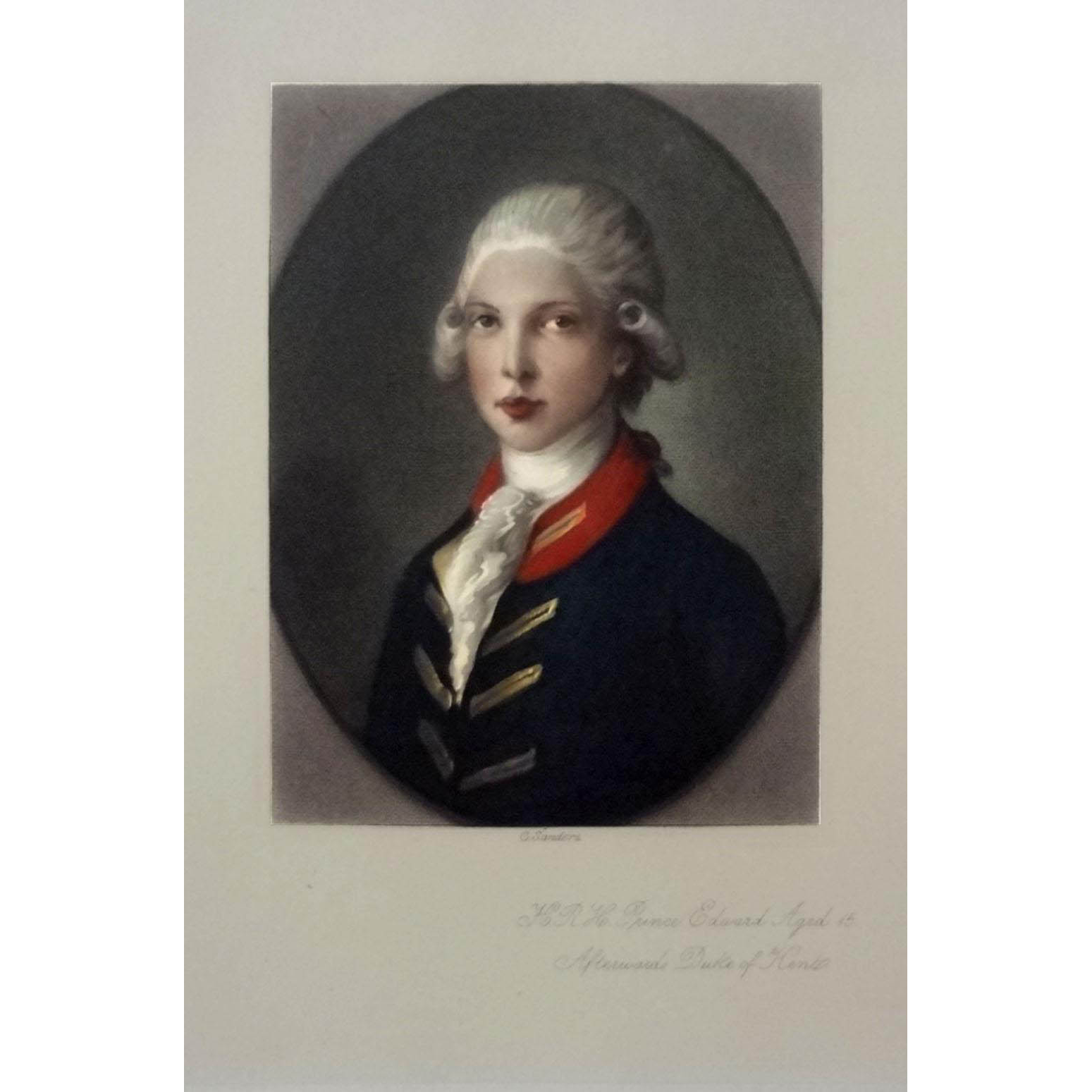Color Mezzotint Prince Edward, Duke of Kent and Strathearn Portrait by G. Sanders after Gainsborough - 19th Century, England