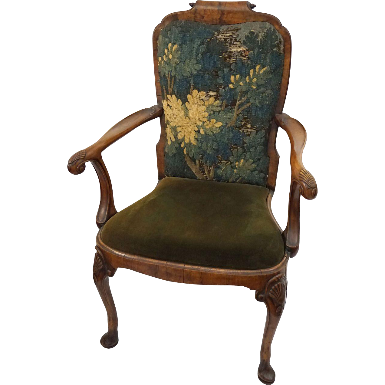 Antique Walnut Armchair Queen Anne Style Carved Shell ...