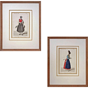 Pair Antique French Provincial Milkmaids Dress / Costume Engravings - 19th Century, France
