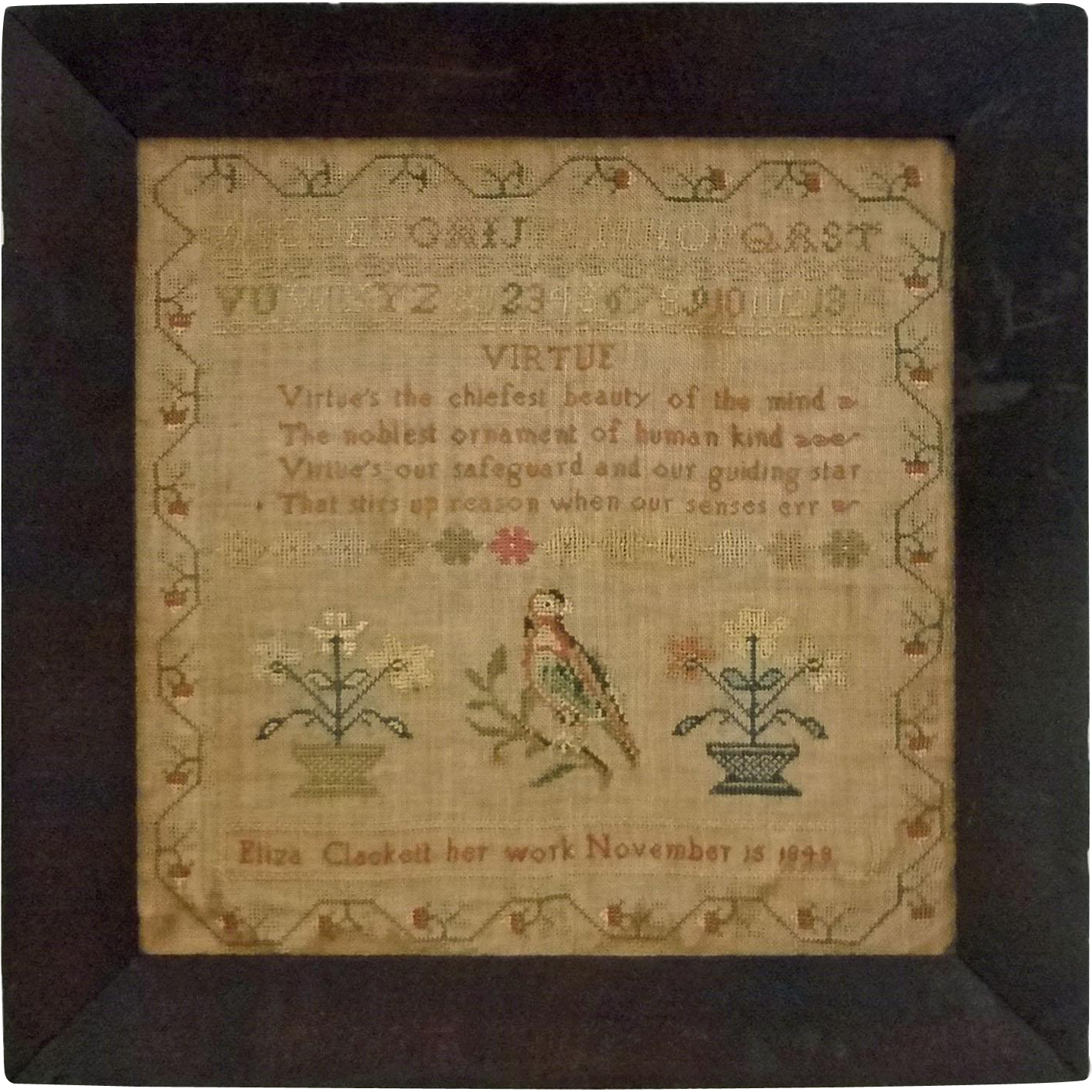 1843 Schoolgirl Needlework Sampler Antique Textile Parrot - 1843, New York